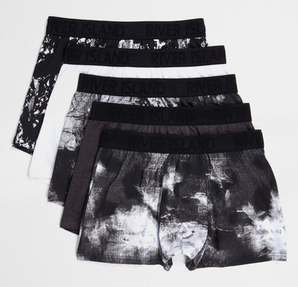 Black mono print trunks multipack