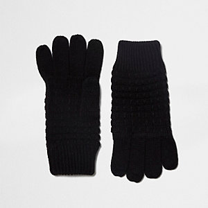 Gants en maille gaufrée noirs