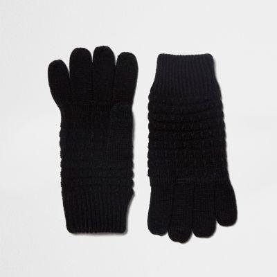 Black waffle knit gloves - Scarves / Gloves - Accessories - men