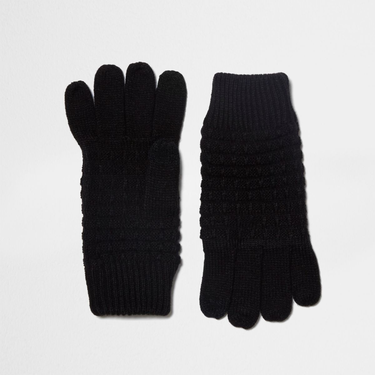 Black waffle knit gloves