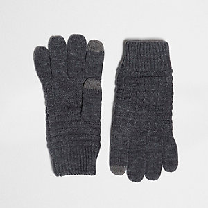 Grey waffle knit gloves