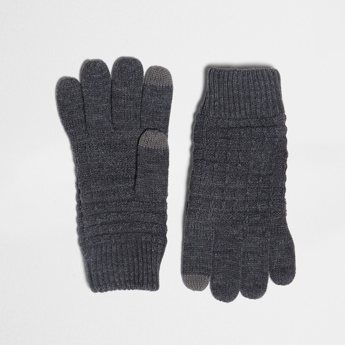 Grey waffle knit gloves