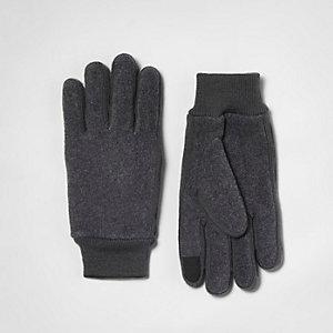 Grey fleece knit gloves