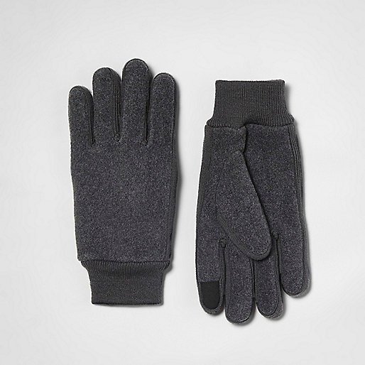 Grey fleece knit gloves