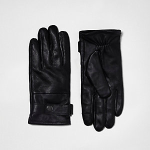 Black leather perforated gloves