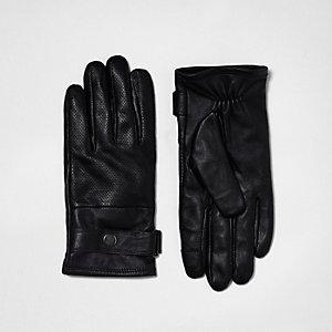 Gants en cuir noirs perforés