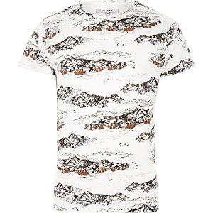Bellfield – T-shirt imprimé montagne blanc