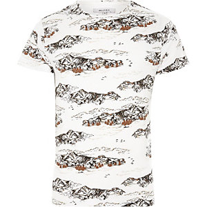 Bellfield - Wit T-shirt met bergprint