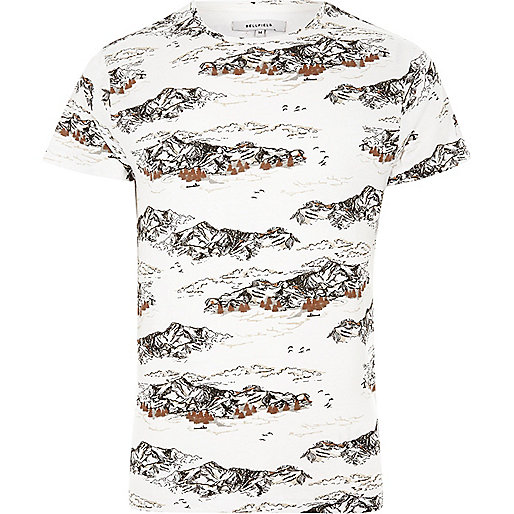 White Bellfield mountain print T-shirt