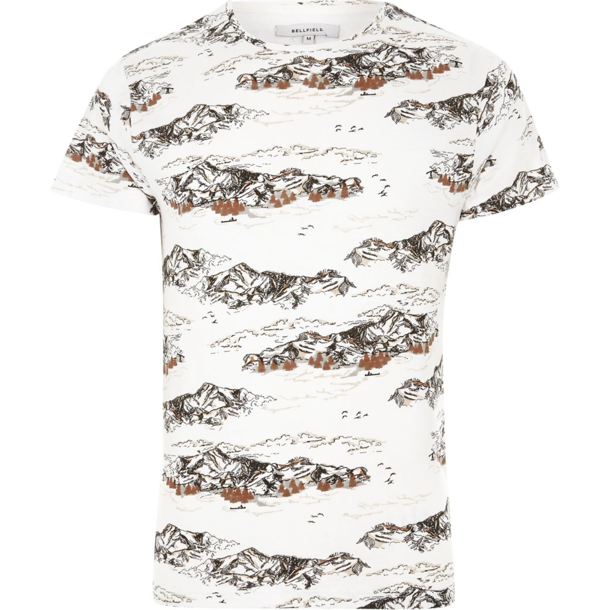 White Bellfield mountain print T-shirt