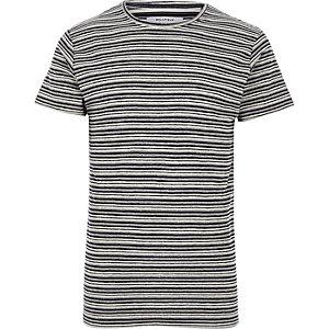 Bellfield – Schwarzes, gestreiftes T-Shirt mit Rundhalsausschnitt