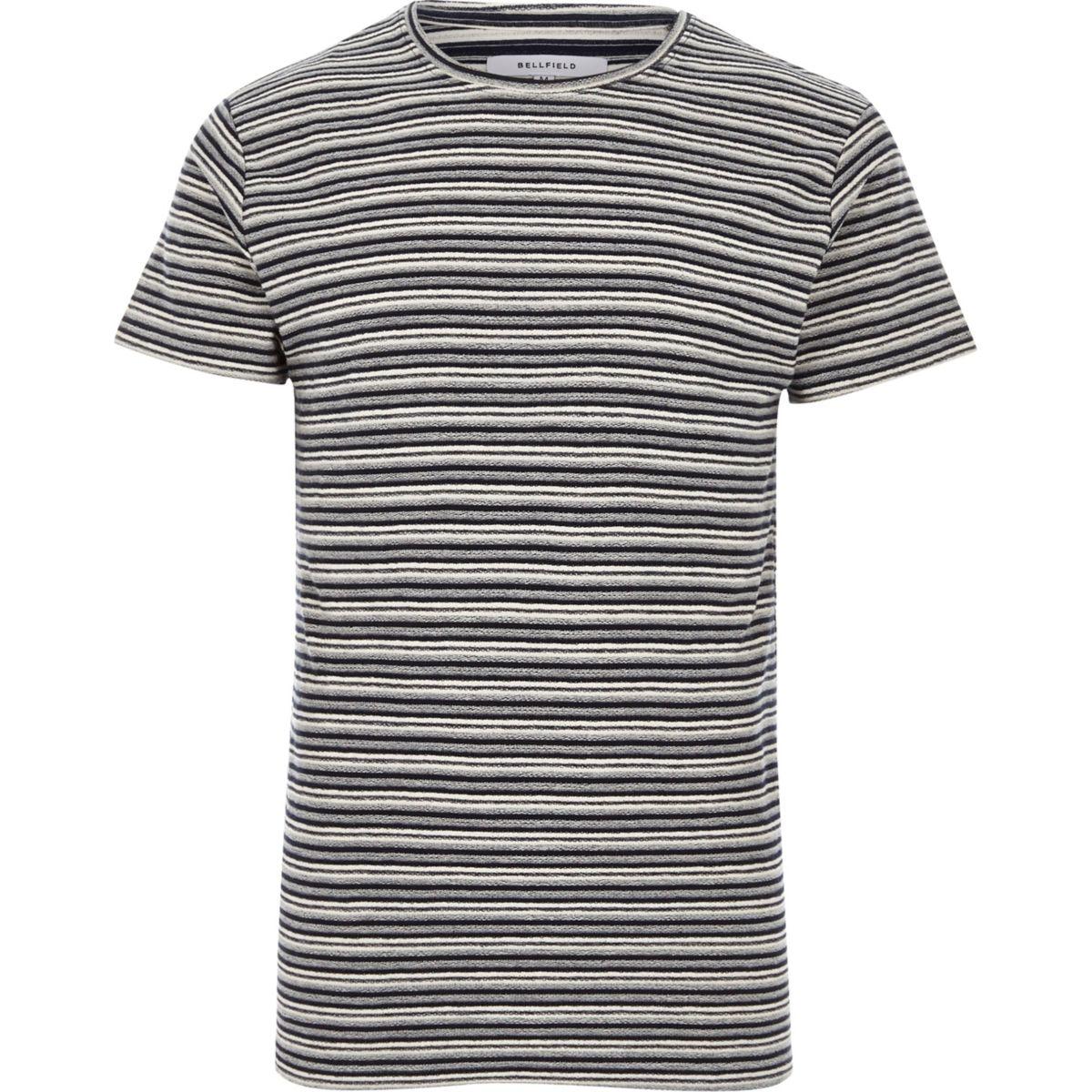 Bellfield - Zwart gestreept T-shirt met ronde hals