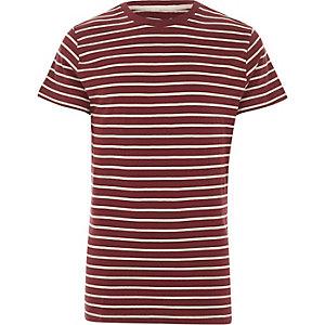 Bellfield – T-shirt rayé bordeaux à col ras du cou