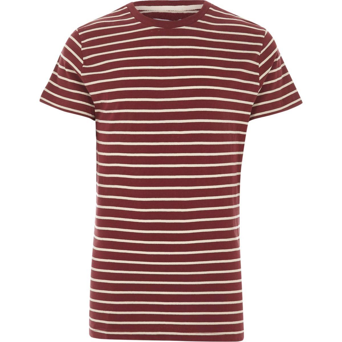 Burgundy Bellfield stripe crew neck T-shirt