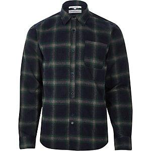 Bellfield - Marineblauw geruit overhemd met lange mouwen