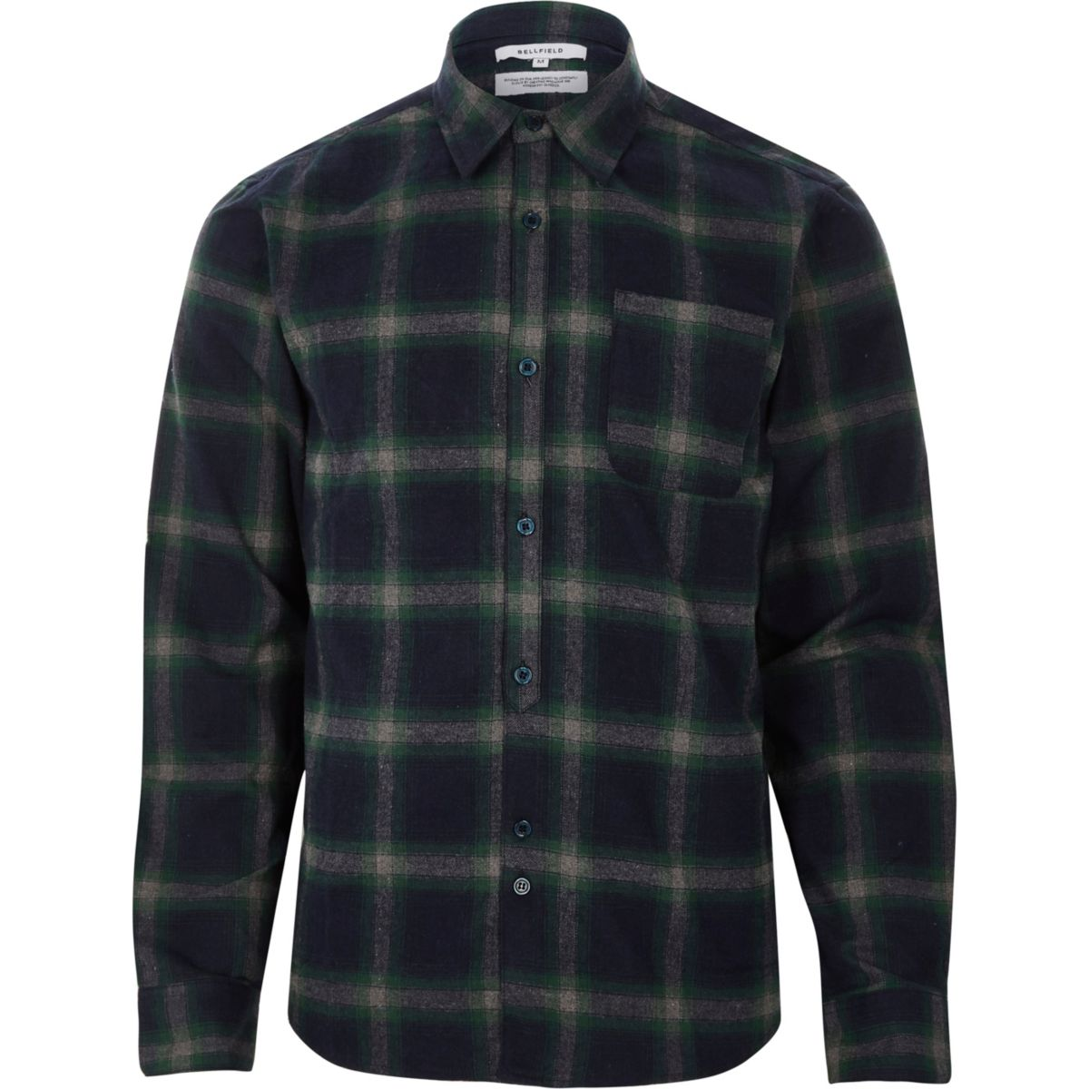 Navy Bellfield long sleeve check shirt