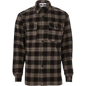Black Bellfield long sleeve check shirt