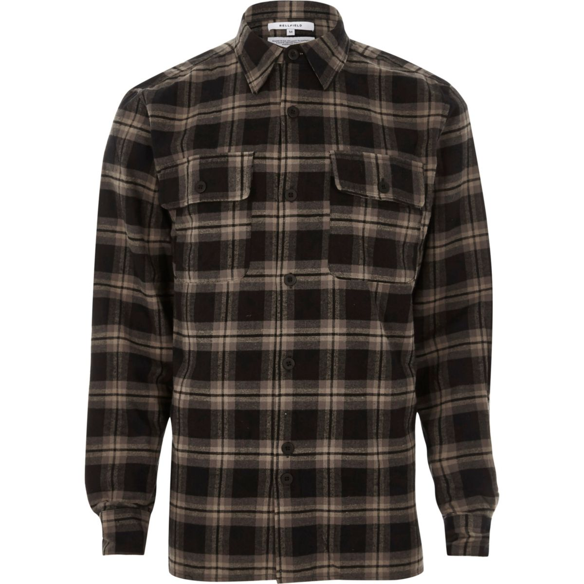 Black Bellfield long sleeve check shirt
