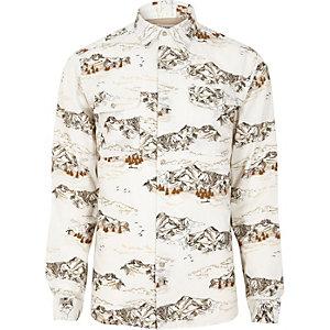 Bellfield – Weißes, bedrucktes Hemd