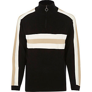 Black Bellfield blocked high neck sweatshirt