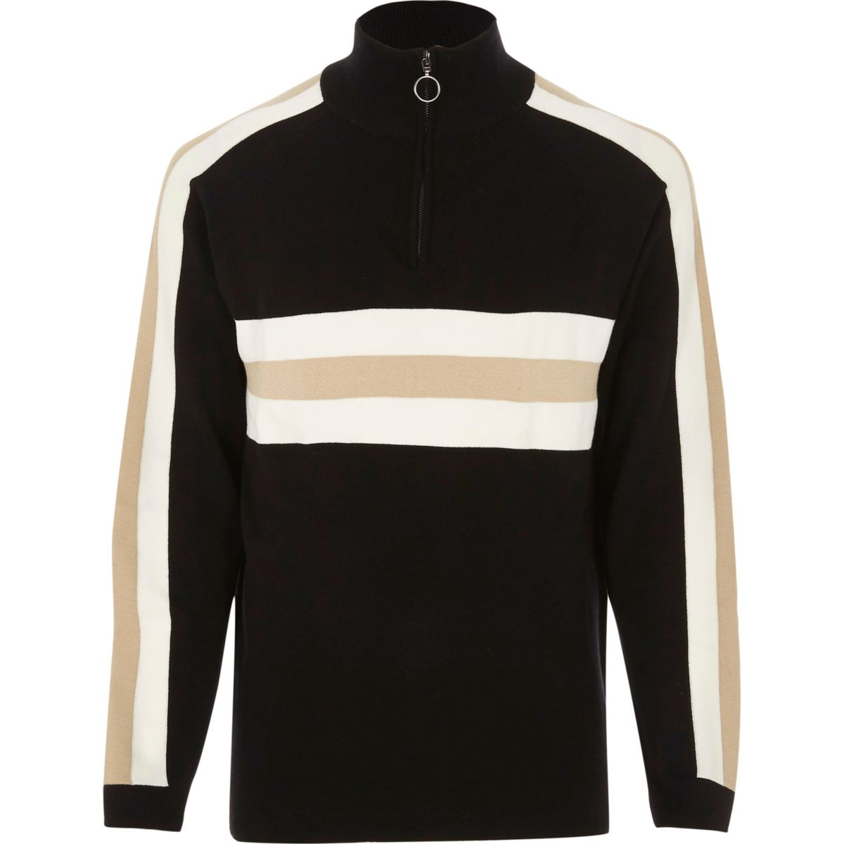 Black Bellfield blocked high neck sweatshirt