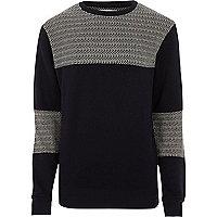 Black Bellfield block crew neck sweatshirt