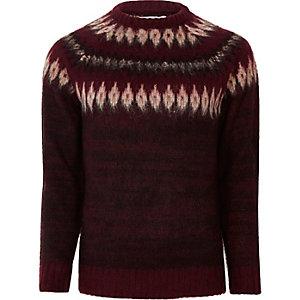Bellfield - Bordeauxrode gebreide pullover met motieven rond de schouders
