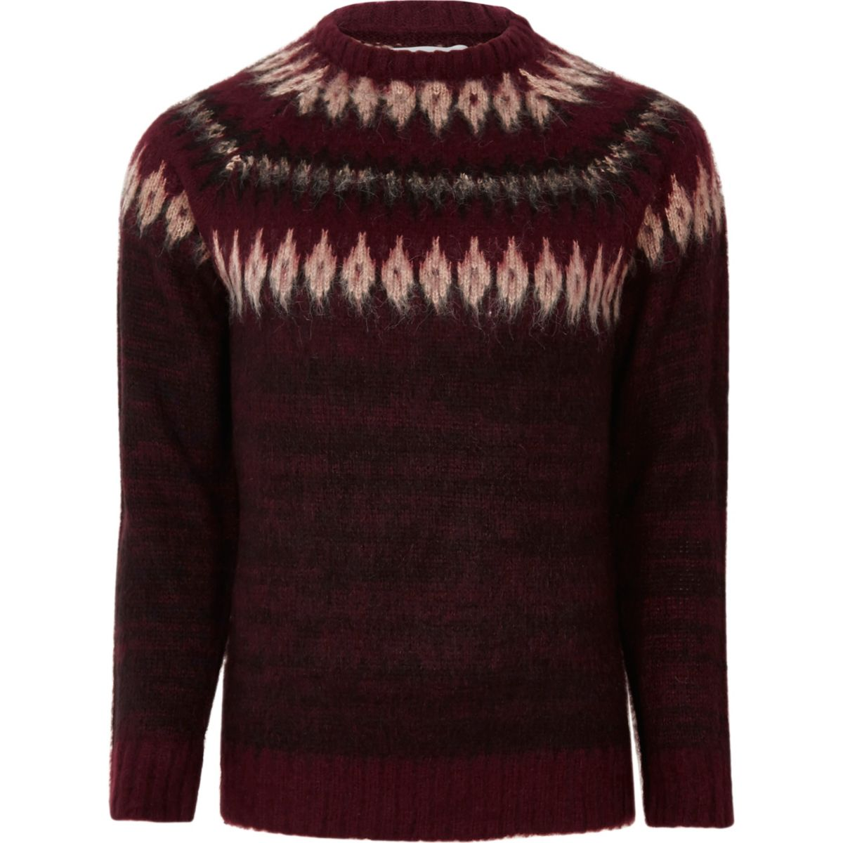 Burgundy Bellfield yoke design knit jumper