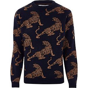Black Bellfield tiger print knit jumper