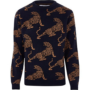 Black Bellfield tiger print knit sweater