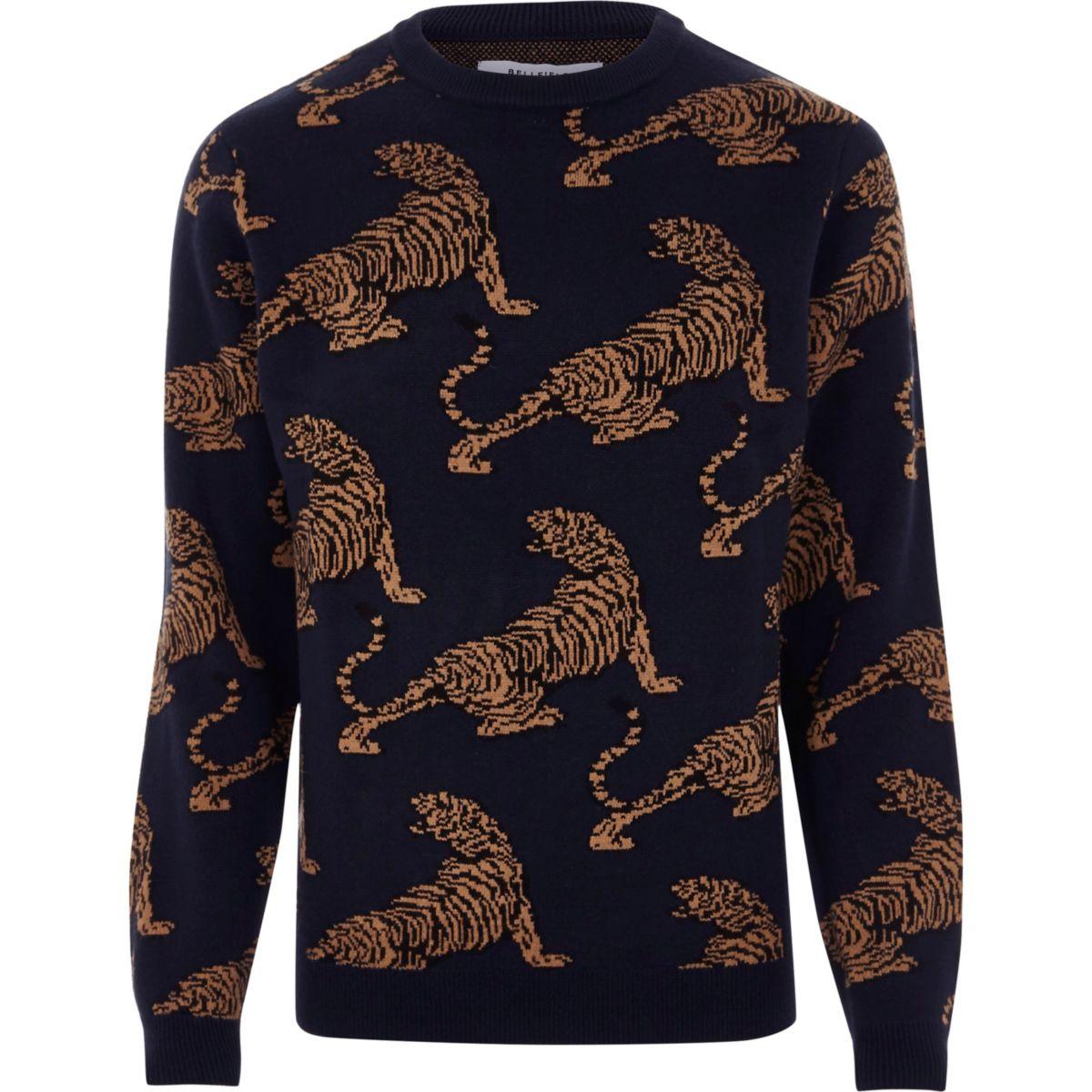 Black Bellfield tiger print knit sweater