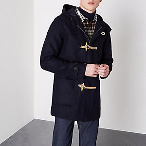 Navy Bellfield hooded duffle coat