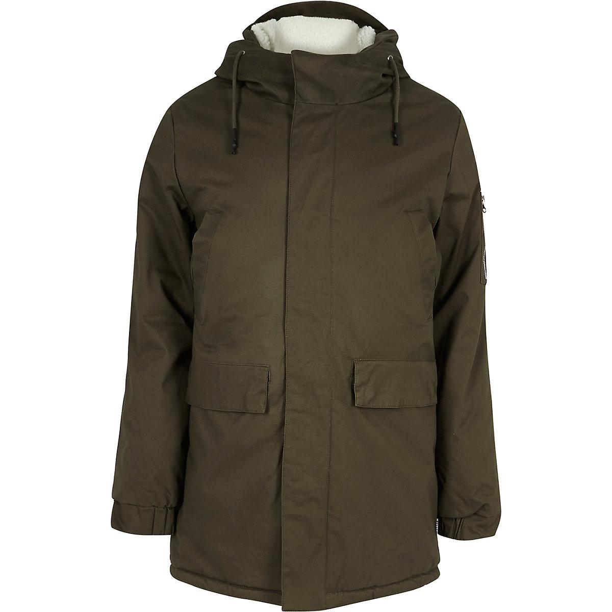 Khaki fleece lined hooded coat