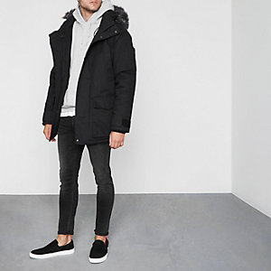Black Bellfield faux fur trim parka coat