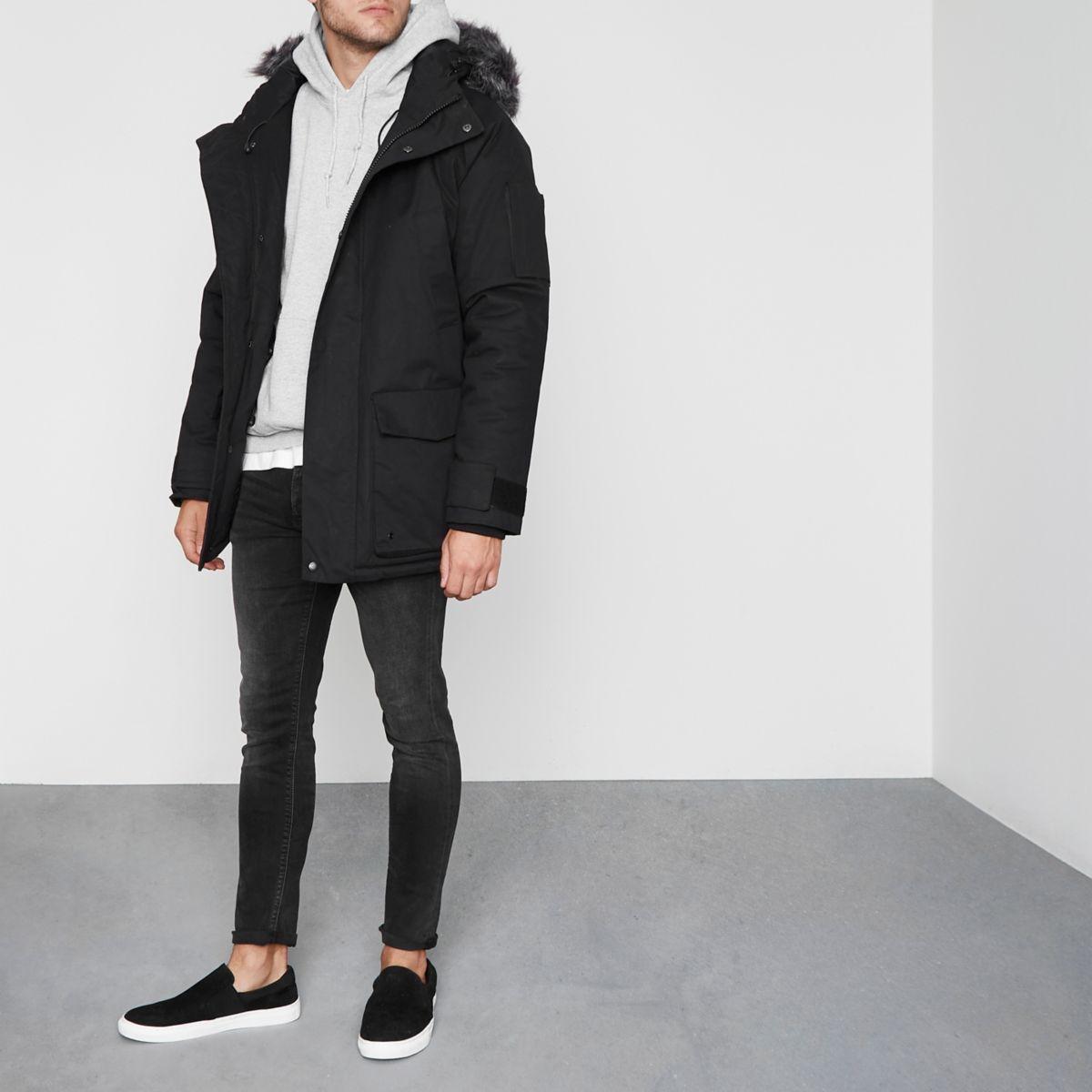 Black Bellfield faux fur trim parka coat