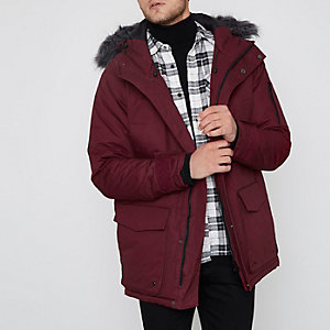 Burgundy Bellfield faux fur trim parka coat