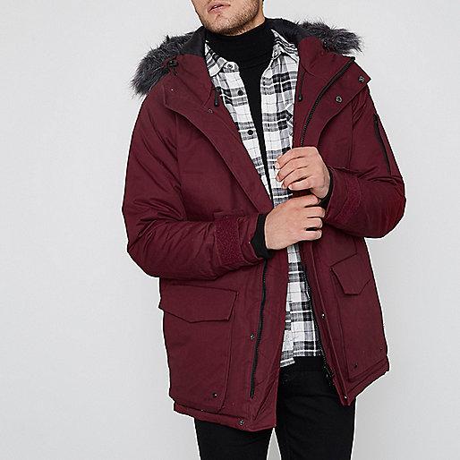 Burgundy Bellfield faux fur trim parka coat