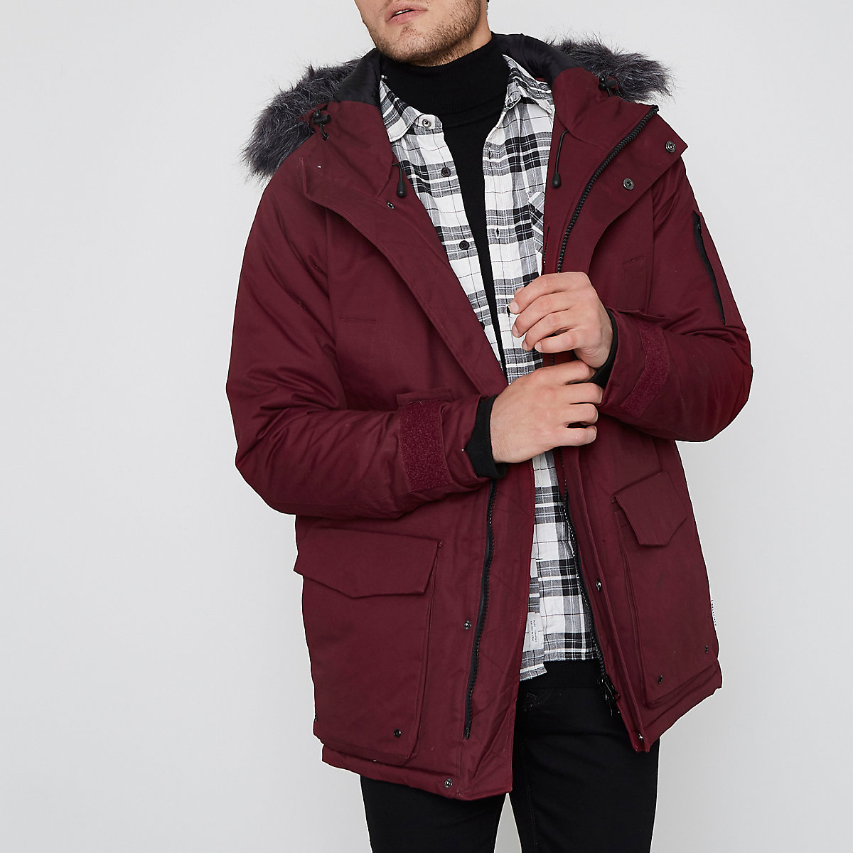 Bellfield burgundy faux fur trim parka coat