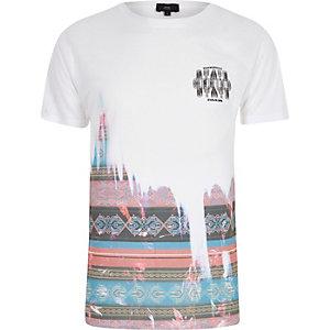 T-shirt imprimé aztèque délavé blanc