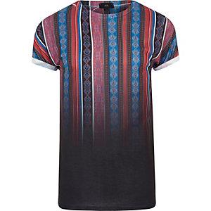 T-shirt à rayures motif aztèque noir en dégradé
