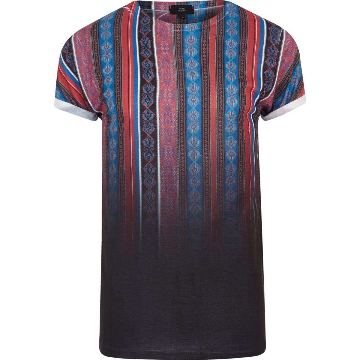 Zwart gestreept T-shirt met vervagende Azteken-print