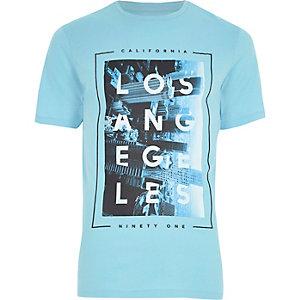 Blauw slim-fit T-shirt met 'Los Angeles'-print