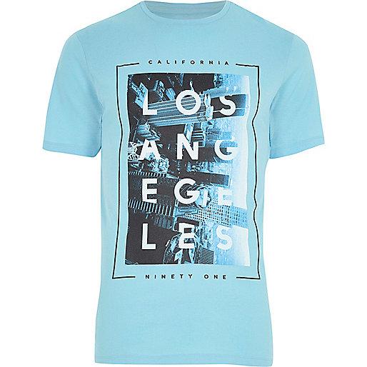 Blue 'Los Angeles' print slim fit T-shirt