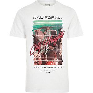 T-shirt slim imprimé «California» blanc