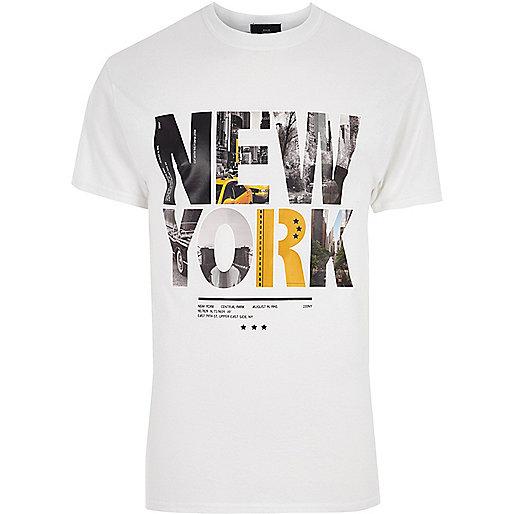 White 'New York' print T-shirt
