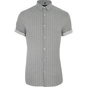 Chemise manches courtes ajustée à motif géométrique grise