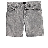 Grey acid wash skinny denim shorts