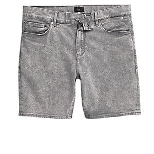 Grey acid wash skinny denim shorts