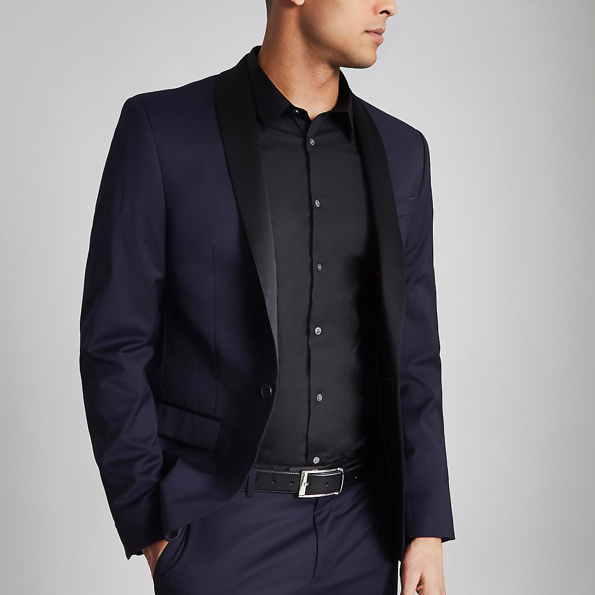 Navy and black stretch skinny tuxedo jacket