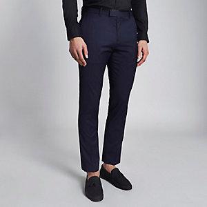 Pantalon de smoking skinny bleu marine